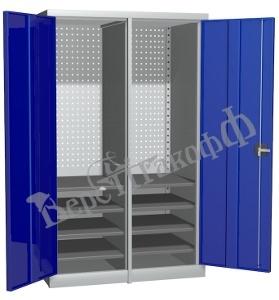 Металлический инструментальный шкаф PROFFI с перегородкой, 8 полок.
