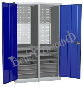 Металлический инструментальный шкаф PROFFI с перегородкой, 6 полок+6 ящиков.