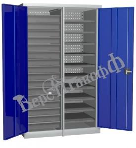 Металлический инструментальный шкаф PROFFI с перегородкой, 10 полок+16 ящиков.