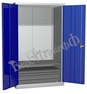 Металлический инструментальный шкаф PROFFI (без перегородки), 2 полки+2 ящика.