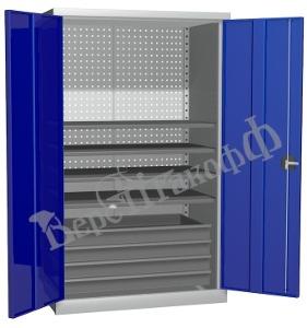 Металлический инструментальный шкаф PROFFI (без перегородки), 4 полки+4 ящика.