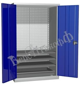 Металлический инструментальный шкаф PROFFI (без перегородки), 3 полки+1 ящик.