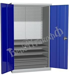 Металлический инструментальный шкаф PROFFI (без перегородки), 4 полки+2 ящика.