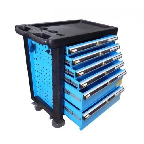 Тележка инструментальная 6-ти полочная (синяя) с пластиковой защитой корпуса + перфорация
