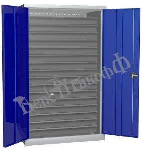 Металлический инструментальный шкаф PROFFI (без перегородки), 16 ящиков.