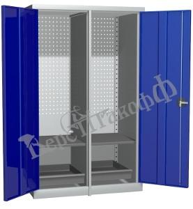Металлический инструментальный шкаф PROFFI с перегородкой, 2 полки+2 ящика.