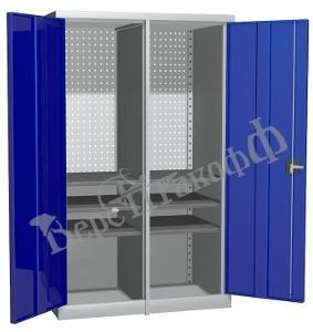 Металлический инструментальный шкаф PROFFI с перегородкой, 6 полок.