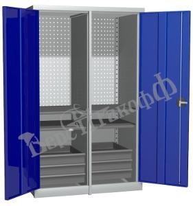 Металлический инструментальный шкаф PROFFI с перегородкой, 4 полки+6 ящиков.