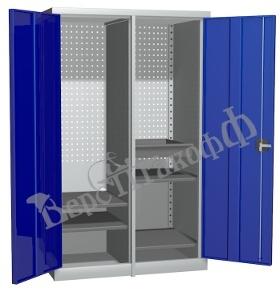 Металлический инструментальный шкаф PROFFI с перегородкой, 3 полки+1 ящик.