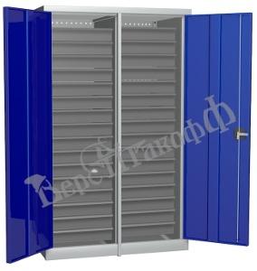 Металлический инструментальный шкаф PROFFI с перегородкой, 32 ящика.