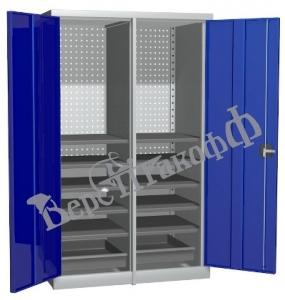 Металлический инструментальный шкаф PROFFI с перегородкой, 10 полок+2 ящика.