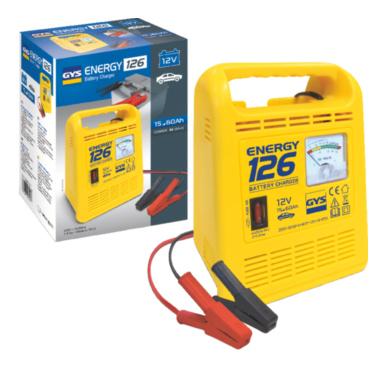 Energy 126 12 В, 90 Вт. Зарядное устройство для свинцовых аккумуляторов ёмкостью от 15 до 60 А/ч, указание зарядки стрелочным вольтметром, питание 230 В, мощность 90 W, защита от замыкания и смены полярности, упаковка 220х115х228мм, вес 1,8 кг.