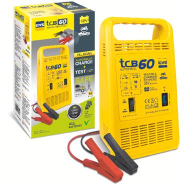 TCB 60 12 В, 85 Вт. Зарядное устройство автомат, тестер с защитой от ошибки полярности (звуковой сигнал), 15-60А/час, индикаторы: 'тест', 'зарядка', 'сеть'