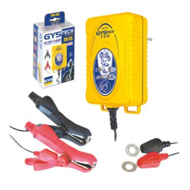 GYSTECH 750, 16,5 Вт. Компактное зарядное устройство для маленьких свинцовых аккумуляторов 6-12 В, жидких или гелиевых до 20 Ач. Идеален для мотоциклов, скутеров, гидроциклов, садовых тракторов. Защита от замыкания и смены полярности.