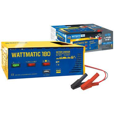 WATTmatic 180 6/12 В  Заряжает на 100 % свинцовые аккумуляторы с жидким или глеевым электролитом (кривая WUoU) Дополнительная защита аккумулятора для обычной зарядки, отделение для кабелей.  Защита от замыкания и смены полярности.