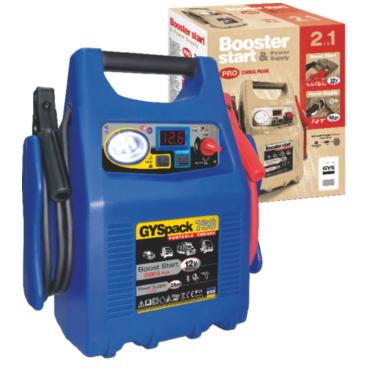 GYSPACK 750 Мгновенный запуск автомобилей со свинцовым аккумулятором 12 В с жидким или глеевым электролитом  2500 А - пиковой ток. Встроенный фонарь. Встроенный тестер. Источник питания 12 В, 26 А/ч