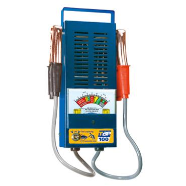 TBP 100 6/12 В тестер для свинцовых аккумуляторов от 20 до 100 а/ч. Проверяет аккумулятор на мощность завода автомобиля. Указывает состояние (хорошее - плохое) аккумулятора. Проверяет напряжение генератора переменного тока. Выявляет   наличие проблемы в ц