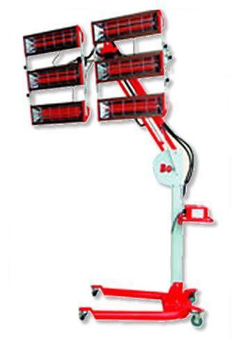 ИК-сушка шестиламповая, коротковолновая, на перекатном штативе с изменяемым углом наклона.  Мощность 6 кВт, Площадь сушки 1,6 х 1,2 м Таймер 1 - 30 мин.