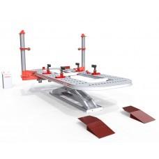 Платформенный стапель для кузовного ремонта из листового металла, грузоподъёмность - 3,5т, с двумя силовыми устройствами башенного типа, расположенными непосредственно на платформе, max усилием 10т.