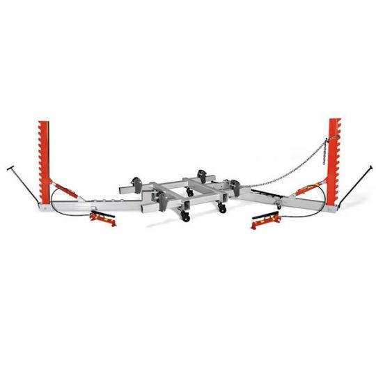 Рихтовочный стапель рамного типа грузоподъёмностью 2 т, с двумя подкатными силовыми устройствами векторного типа с max усилием 10 т.