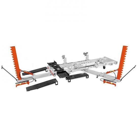 Рихтовочный стапель рамного типа грузоподъёмностью 2 т, с двумя подкатными силовыми устройствами векторного типа с max усилием 10 т. (Эксперт 2000)