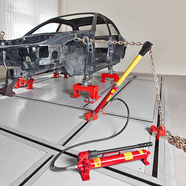 Рихтовочный напольный стапель грузоподъёмностью 2 т, с одним векторным силовым устройством с max усилием 10 т.