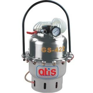 Установка пневматическая для прокачки тормозов, емкость - 5 литров. Рабочее давление воздуха 2-5 bar.  Комплект адаптеров и приспособлений  в кейсе