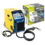 SMARTMIG 142 Мобильный сварочный полуавтомат  поставляется с зафиксированной горелкой и зажимом массы для катушек с проволокой диаметром 100-200мм, 0,6-0,8мм в газовой среде и 0,9 флюсованной проволокой. Для сварки стали необходимо применять сварочный газ