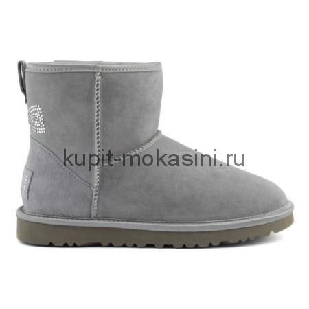 Classic Mini Crystal Bow Grey - Угги Мини Кристал Серые