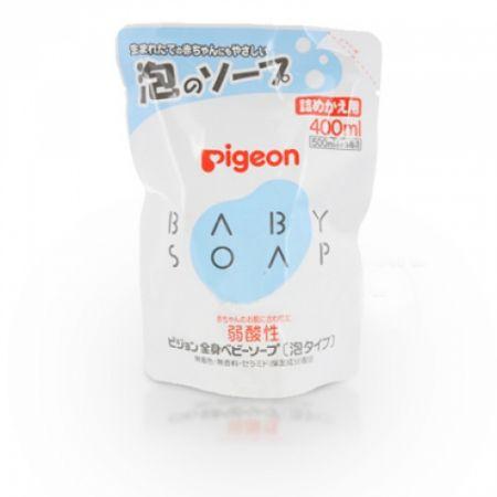 PIGEON Мыло-пенка для младенцев с рождения, не содержит красителей и ароматизаторов, не щиплет глазки, сменный блок 400мл.