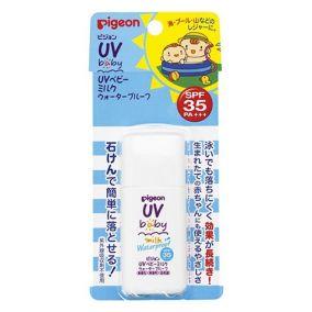 Детское солнцезащитное водостойкое молочко PIGEON UV SPF 35 без парабенов, с рождения, бутылка 30г