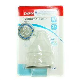 PIGEON Соска силиконовая для детской бутылочки Перистальтик Плюс размер M 3+мес 2шт