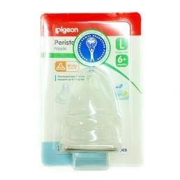 PIGEON Соска силиконовая для детской бутылочки Перистальтик Плюс размер L 6+мес. 2шт