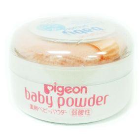 Детская лечебная присыпка без ароматизаторов Pigeon c пуховкой розового цвета банка 30 гр.
