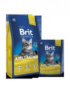 BRIT Premium Adult Salmon Нежный лосось в соусе для взрослых кошек (8 кг)