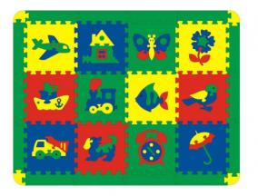 """Мягкий развивающий коврик-мозаика  """"Ассорти"""", 12 деталей"""
