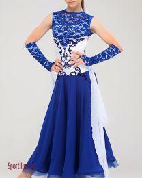 Платье для стандарта синее с белым