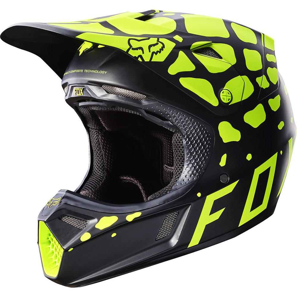 Fox - V3 Grav шлем, черно-желтый