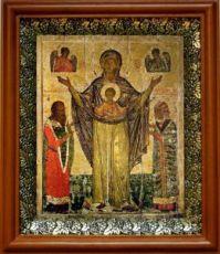 Мирожская икона БМ (19х22), светлый киот