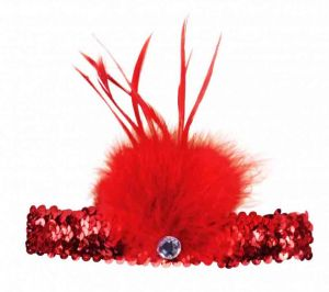 Повязка на голову с пером красная