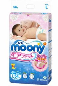 Подгузники Moony L (9-14кг), 54шт (Disney)