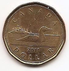 Утка 1 доллар Канада 2011 регулярный выпуск