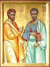 Варфоломей и Варнава (рукописная икона)
