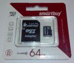 КАРТА ПАМЯТИ SMARTBUY MICROSDHC 64GB CLASS 10 + АДАПТЕР BLACK