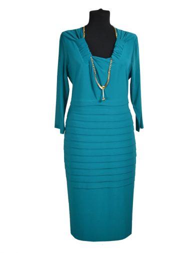 Трикотажное платье бирюзового цвета с аксессуарами