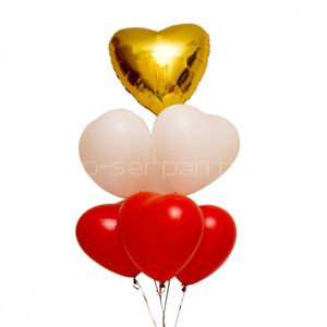 Набор гелиевых сердец КАСКАД ЛЮБВИ
