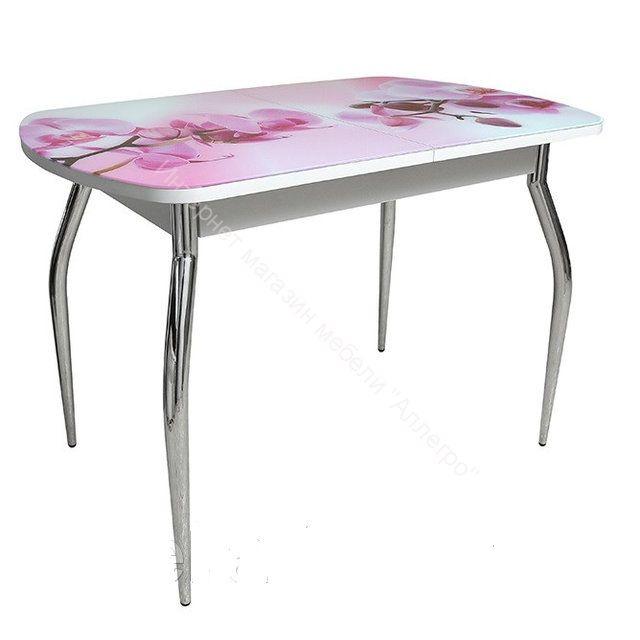 Стол нераздвижной ПГ-04 СТ (Белый/Фотопечать Орхидея)