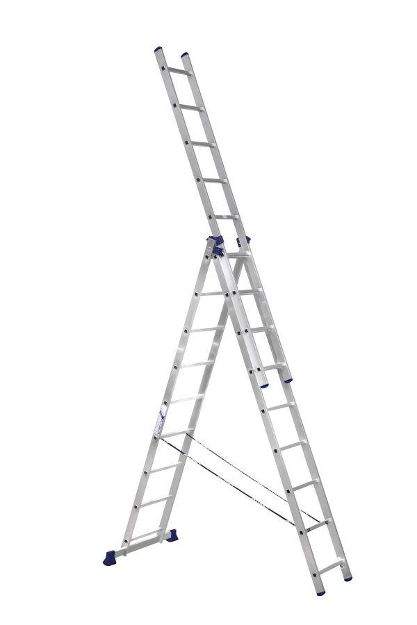 Лестница - стремянка  3-х секц. 3*9  (3х2,52 /5,88/4,19 м 11,9 кг) алюм