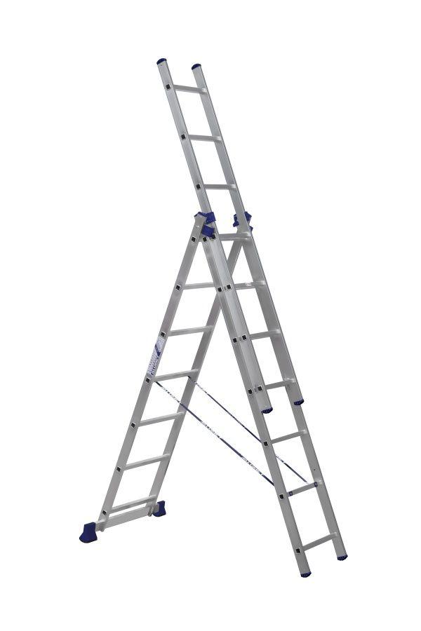 Лестница - стремянка  3 -х секц. 3*7  (3х1,96/4,2/3,07 м 8,9 кг) алюм