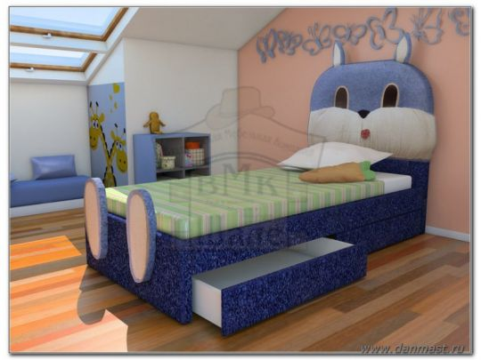 Кровать Зайка мягкая